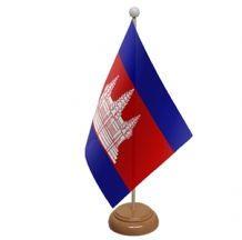 CAMBODIA - TABLE FLAG WITH WOODEN BASE